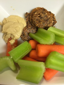 Carrots, Celery, Mary's Crackers, Hummus