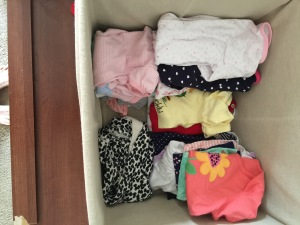 Gemma's newly organized clothes.